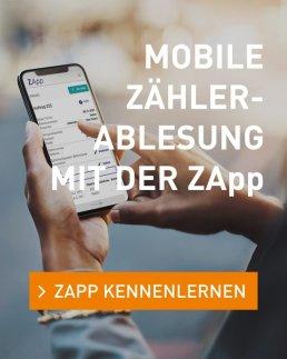 Anzeige für die mobile Zählerablesung mit der ZApp